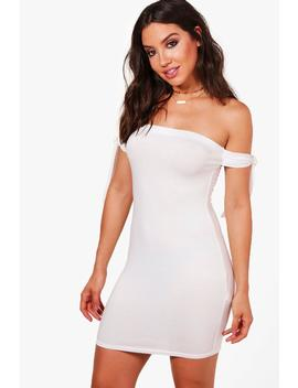 Lilly Tie Sleeve Bardot Bodycon Dress by Boohoo