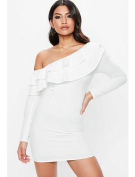 White Frill Off The Shoulder Bodycon Dress by Missguided