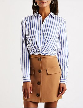 Striped Twist Front Button Up Top by Charlotte Russe