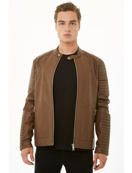 [Men]Ribbed Faux Leather Jacket by Forever 21