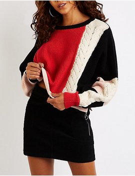 Colorblock Dolman Pullover Sweater by Charlotte Russe