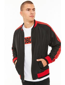 [Men]Striped Bomber Jacket by Forever 21