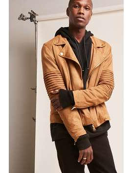 [Men]Faux Suede Moto Jacket by Forever 21
