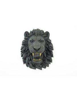 Faux Taxidermy  Matte Black Fierce Lion Head With Gold Teeth Wall Mount   Roaring Lion  Faux Taxidermy Home Decor  Oml1708 by Etsy