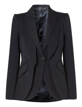 Layered Grain De Poudre Wool Blazer by Alexander Mc Queen