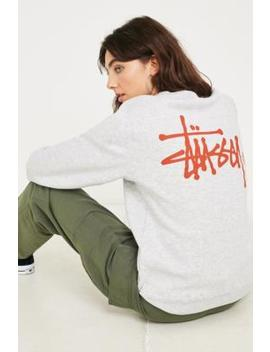 Stussy Basic Logo Grey Crew Neck Sweatshirt by Stussy
