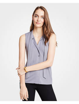 Petite Tie Neck Button Front Shell by Ann Taylor