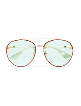 Aviator Style Glittered Gold Tone Sunglasses by Gucci
