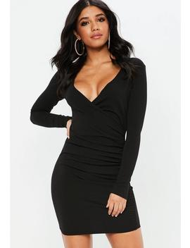 Black Crepe Ruched Side Asymmetric Bodycon Dress by Missguided