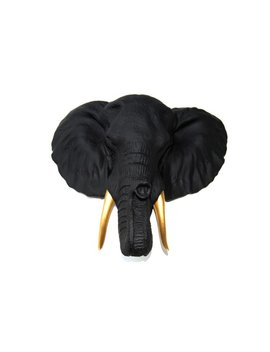 Elephant Head Wall Mount   Black Elephant Head Wall Mount With Gold Tusks Wall Mount   Faux Taxidermy El1708 by Etsy