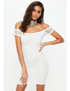 Cream Crochet Bardot Bodycon Dress by Missguided