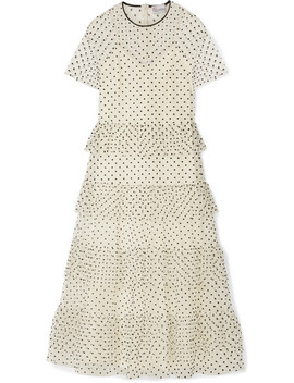 Polka Dot Tiered Flocked Tulle Maxi Dress by Red Valentino