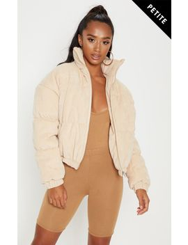 Petite Beige Cord Puffer Jacket by Prettylittlething