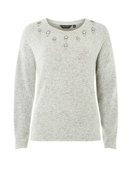 Grey Embellished Yoke Cut Sew Top by Dorothy Perkins