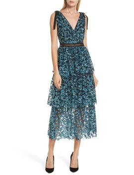 Tiered Sequined Midi Dress by Self Portrait