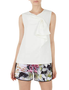 Ted Baker Kelliss Sculpted Bow Sleeveless Top, Natural Ivory by Ted Baker