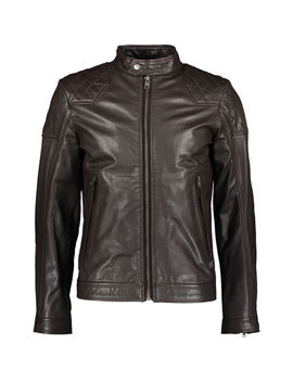 Brown Goatskin Leather Biker Jacket by Diesel