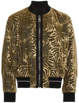 Haider Ackermann Reversible Brocade Bomber Jackettux Cropped Trousersblack Patent Leather Chunky Lace Up Bootsfloral Print Satin Long Sleeve Shirtsignature Print T Shirt Reversible Brocade Bomber Jacket by Haider Ackermann