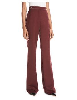Vesta High Waist Wide Leg Wool Pants W/ Contrast Topstitching by Gabriela Hearst
