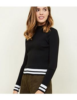Black Ribbed High Neck Stripe Hem Top by New Look