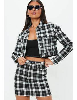 Petite Black Cropped Checked Denim Jacket by Missguided