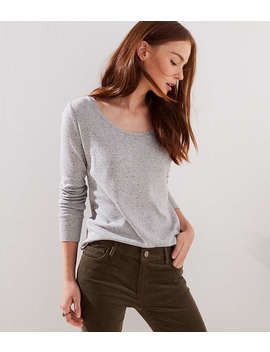 Speckle Striped Long Sleeve Shirttail Tee by Loft