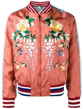 Gucci Orange Floral Embroidered Bomber Jacketlong Length T Shirtdistressed Skinny Jeans Ace Low Top Sneakers Orange Floral Embroidered Bomber Jacket by Gucci