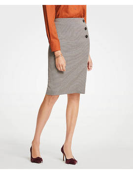 Plaid Side Button Pencil Skirt by Ann Taylor