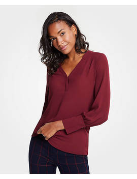 Mixed Media V Neck Popover by Ann Taylor