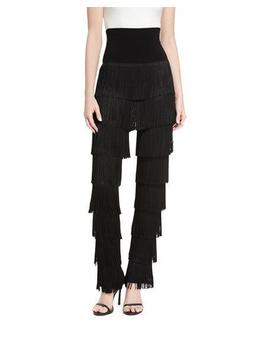 Fringed Boot Cut Pants by Norma Kamali