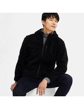 Men Wind Proof Pile Lined Fleece Full Zip Hoodie by Uniqlo