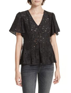 Sarah Silk Eyelet Top by Rebecca Taylor