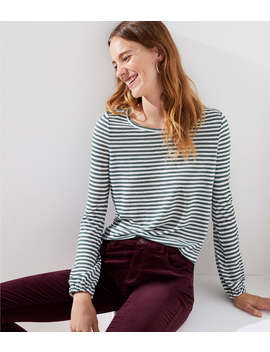 Striped Shirred Back Tee by Loft