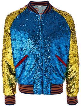 Guccisequin Bomber Jacket Blind For Love Embroidered Jeanssequin Bomber Jacket by Gucci