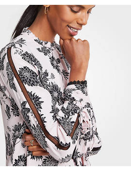 Autumnal Floral Lacy Cutout Blouse by Ann Taylor