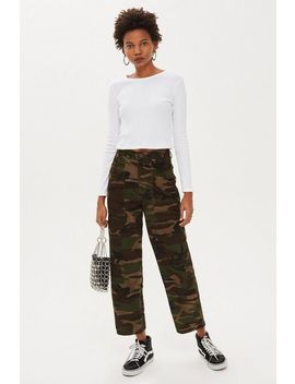 Corduroy Camouflage Trousers by Topshop