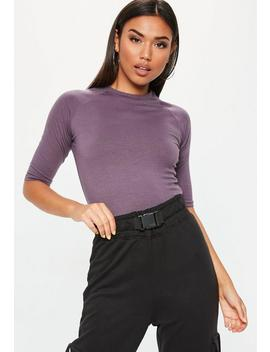 Purple High Neck Fitted Top by Missguided