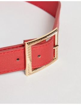 New Look Belt With Rectangle Buckle In Red by New Look