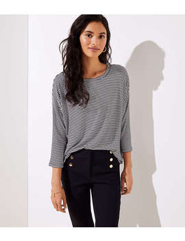 Striped Dolman Shirttail Tee by Loft
