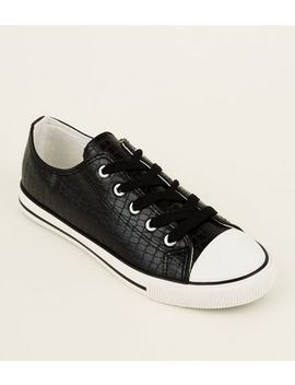 Black Faux Croc Lace Up Low Top Trainers by New Look