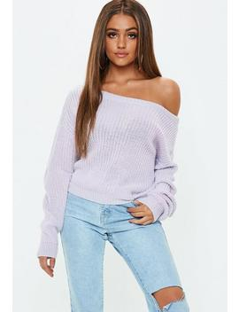 Lilac Cropped Off The Shoulder Jumper by Missguided