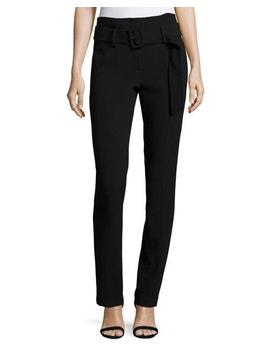 Belt Cigarette Fixture Ponte Pants, Black by Theory