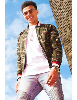 Dele Camo Bomber Jacket With Chest Embroidery by Boohoo