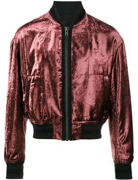 Haider Ackermann Metallic Red Tiziano Velour Bomber Jacket Cotton T Shirt Ickeley Brogues Biker Straight Leg Trousers Ellroy Sheer Shirt Metallic Red Tiziano Velour Bomber Jacket by Haider Ackermann