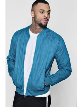 Faux Suede Bomber Jacket by Boohoo