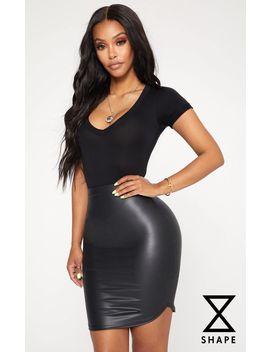 Shape Black Pu Curve Hem Bodycon Skirt by Prettylittlething