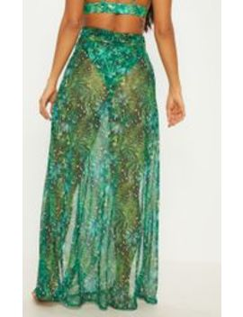 Green Jungle Print Mesh Beach Skirt by Prettylittlething
