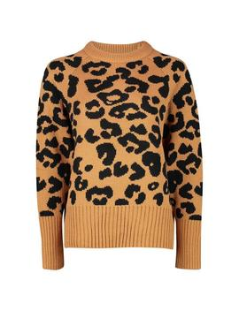 Leopard Knitted Jumper by Boohoo