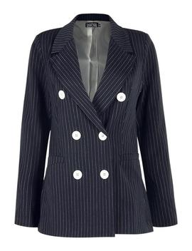 Pinstripe Double Breasted Contrast Button Blazer by Boohoo