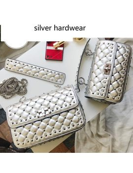 Razaly Brand High Quality Silver Gold Metal Chain Small Satchels Clutch Rivet Bag Real Genuine Leather Sheepskin Tote 2018 by Razaly